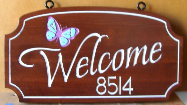 I18550 - Elegant Engraved Stained Redwood Welcome Address Sign with Butterfly