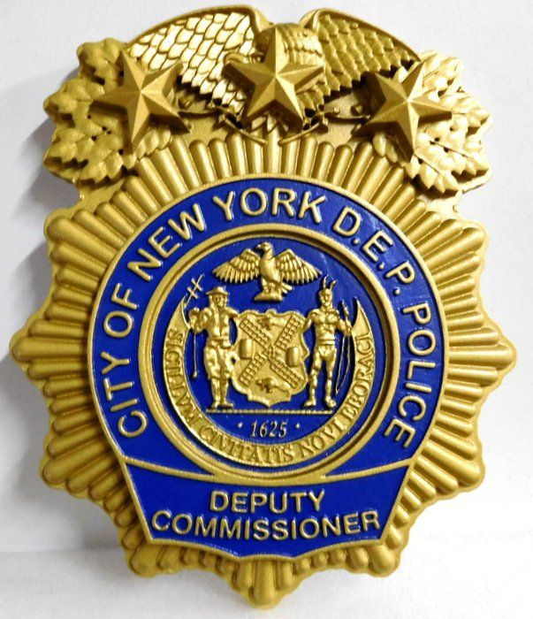 PP-1340 -  Carved Wall Plaque of Badge of  the Deputy Commissioner of Police,  City of New York, N.Y. Painted Metallic Gold