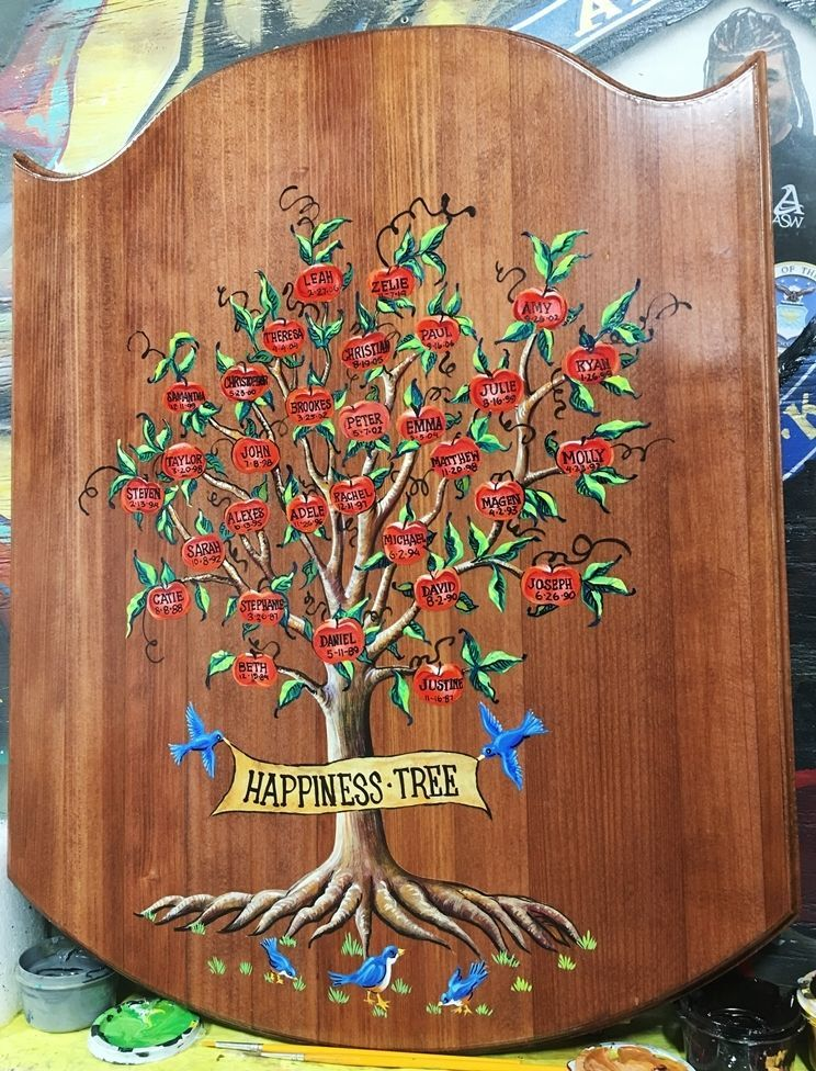 """YP-2145 - Engraved Redwood  Plaque of """"The Happiness Tree"""" with Names of Family Members"""