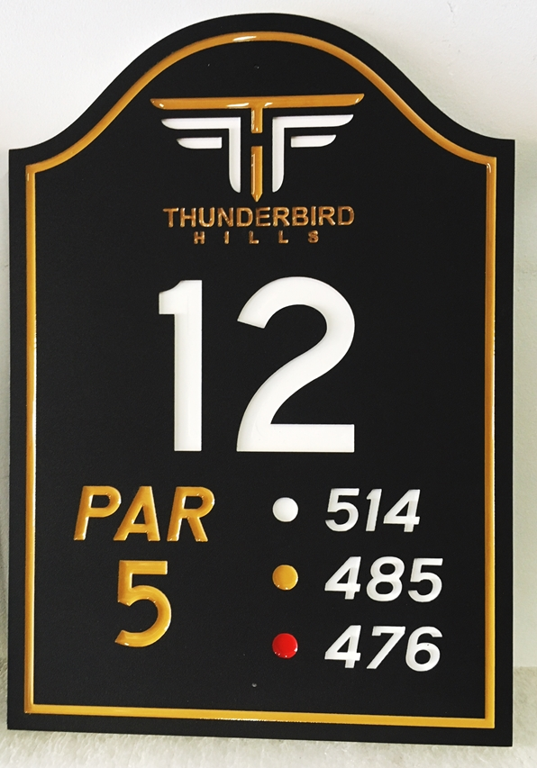 E14372 - Carved Tee Sign for Hole 12 of the Thunderbird Hills Country Club, Engraved HDU