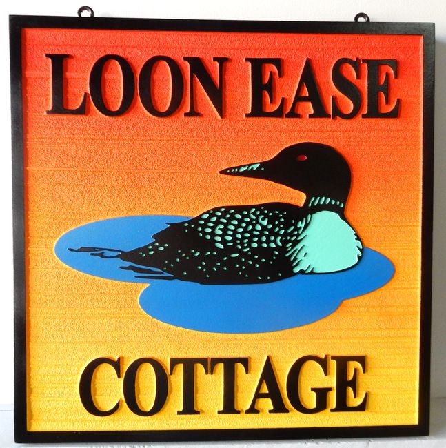 """M22710 - Carved and Sandblasted HDU """"Loon Ease"""" Cottage Sign with Swimming Loon Duck"""