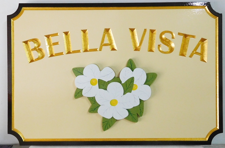 "I18224-""Bella Vista"" Property Name  Sign, with Carved Flowers as Artwork and 24K Gold Leaf Gilded Text"
