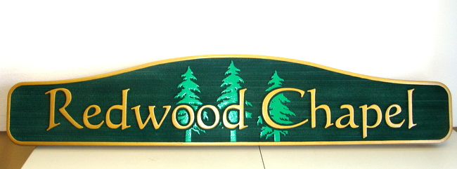 GC16370 - Carved Redwood  Chapel Sign for a Cemetery,. with Fir Trees as Artwork