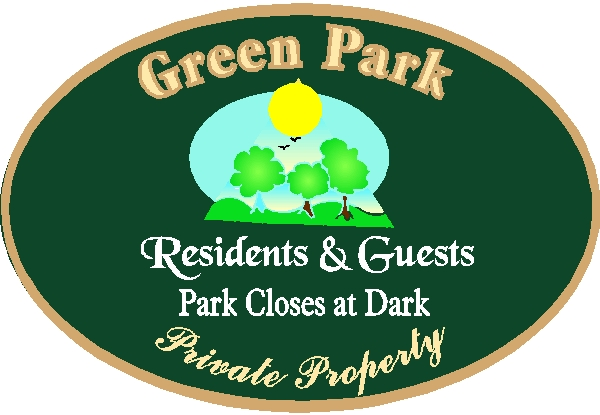 GA16510 - Design of Wood or HDU Sign for Park (Private Property) for Residents and Guests