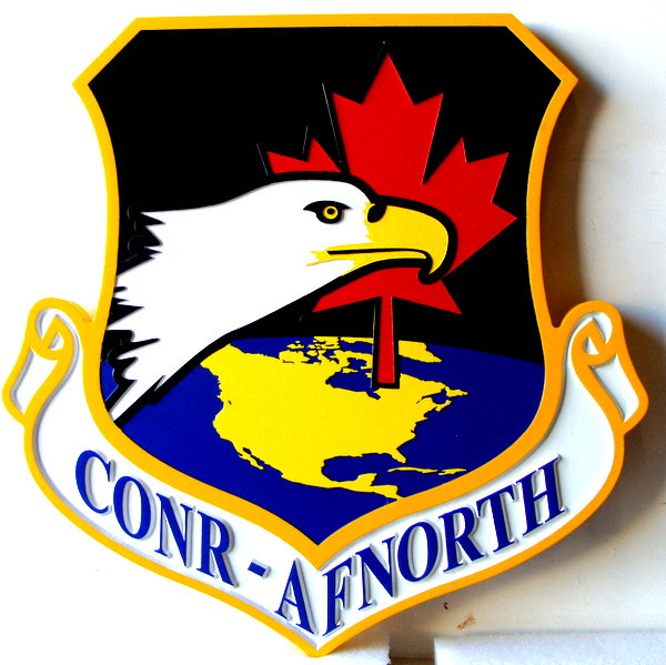 LP-1600 - Carved Shield Plaque of the Crest of the CONR - Air Force North, Artist Painted