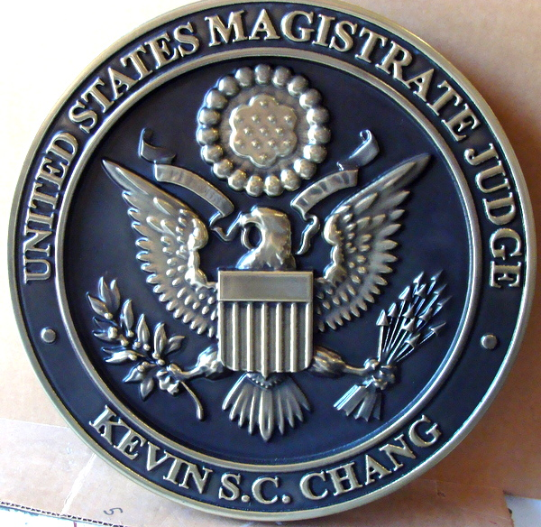 A10827– Carved 3-D Silver-Nickel Courtroom  Wall Plaque, for US Magistrate Judge
