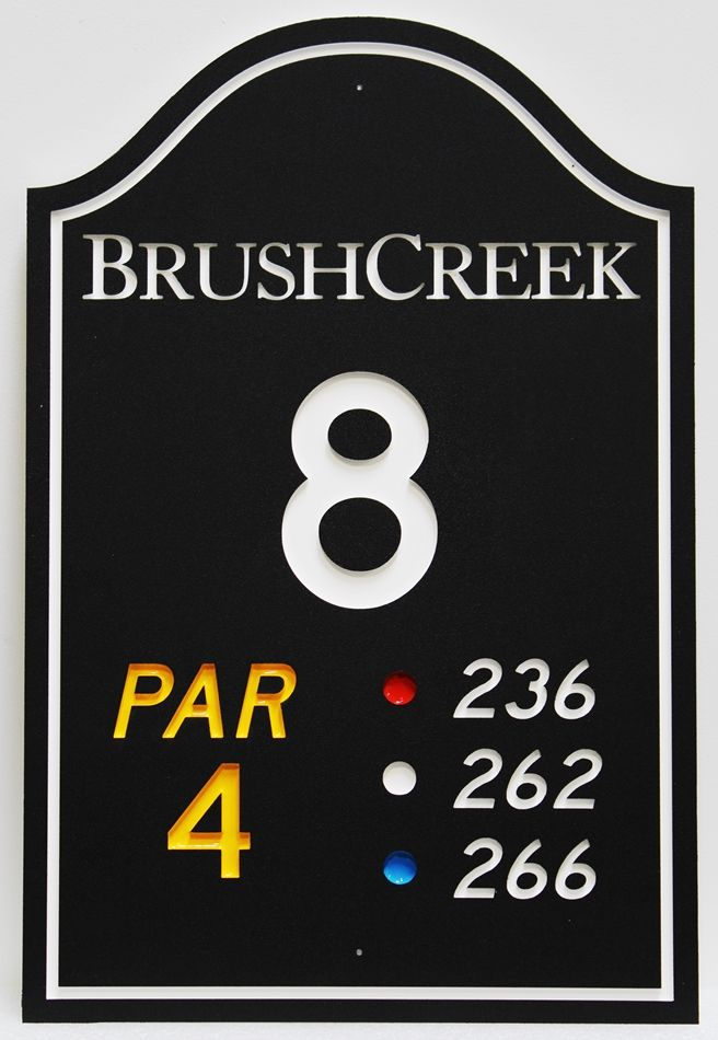 E14430 - Rngraved HDPE Tee Sign for Hole 1 of the Brush Creek Golf Course