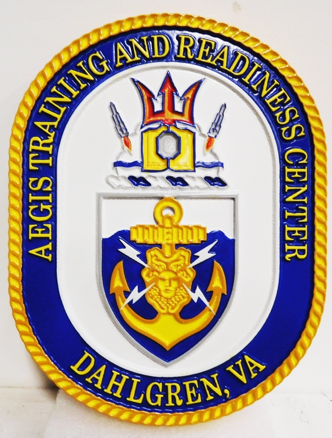JP-1319 - Carved Plaque of the Crest of the Aegis Training and Readiness Center, 2.5-D Outline Relief, 2.5-D Artist-Painted