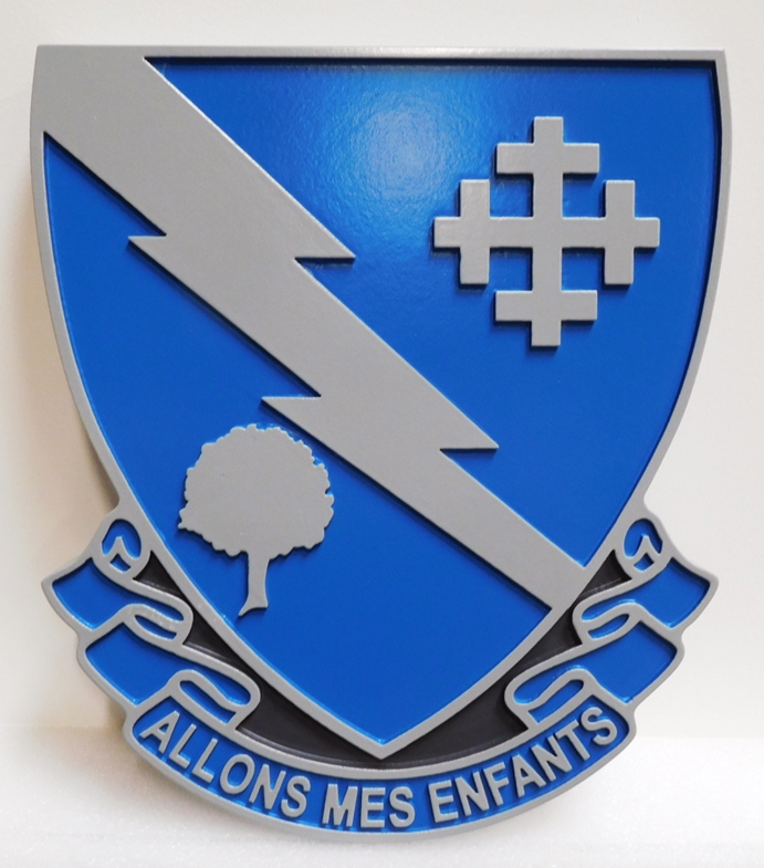 "MP-2077 - Carved Plaque of the Crest of the US Army 310th Regiment  with Slogan ""Allons Mes Enfants"" or ""Let's Go My Children"", Artist-Painted"