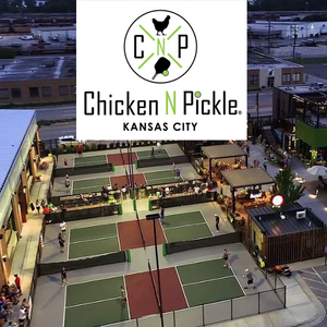 Chicken and Pickle logo over interior photo