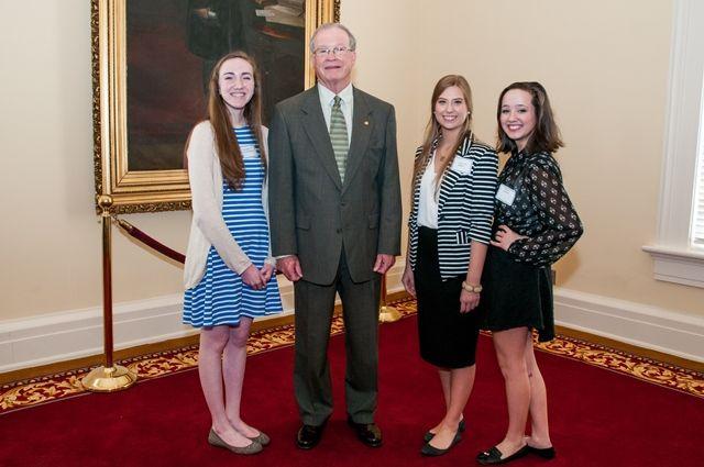 "Senate Majority Leader J.T. ""Jabo"" Waggoner with Pelham High School students"