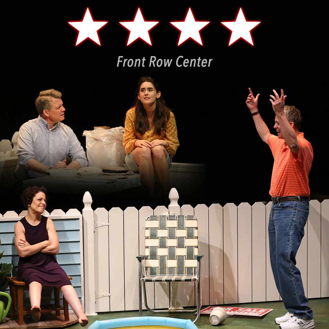 An image has a 4-star rating by Front Row Center on a black background. Two pictures are overlapping. Both scenes represent the cause and effect of what will happen in the show.