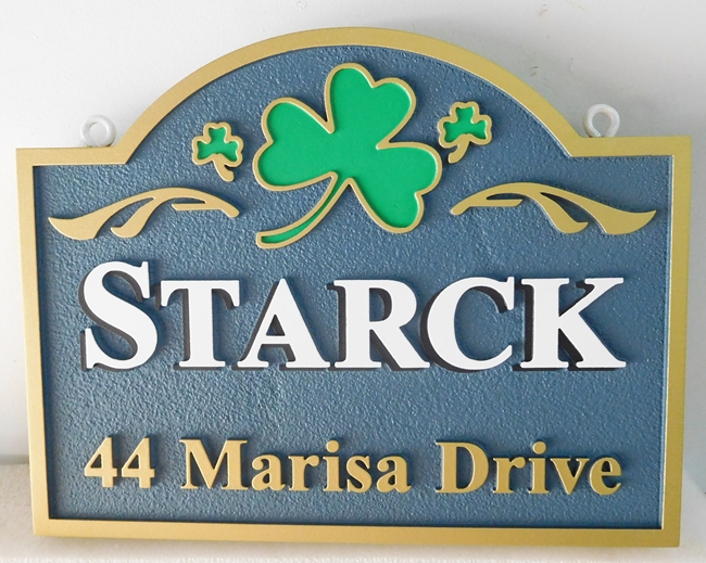 "I18410 -  Irish Address Sign for ""Starck"" Family with a  2.5-D Carved Shamrock"