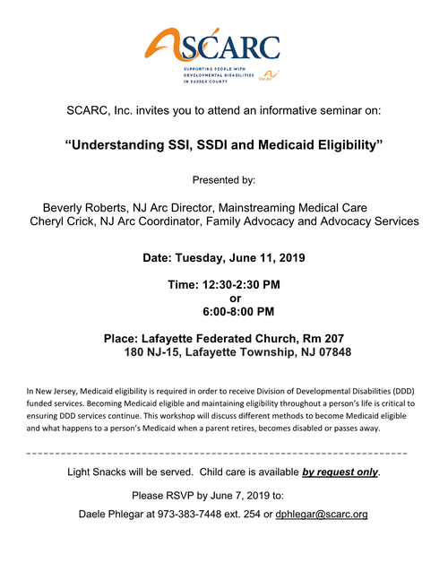 SCARC (The Arc of Sussex): Understanding SSI, SSDI and Medicaid Eligibility