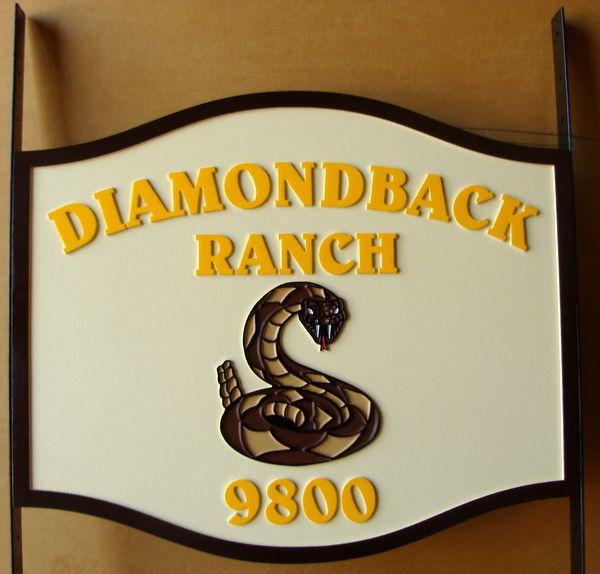"024618– Carved  HDU Address Sign for ""Diamondback Ranch"" , with Diamondback Snake"
