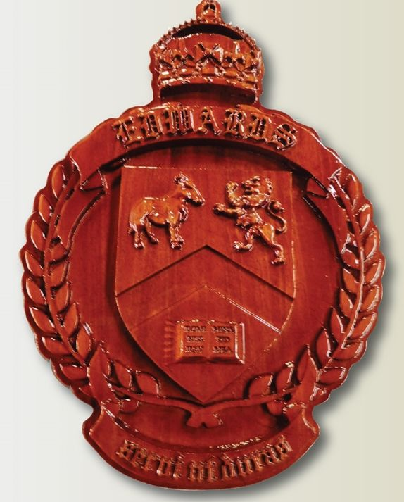 X35151 - Carved 3-D Mahogany Wood Plaque for a Family's Coat-of-Arms/Crest