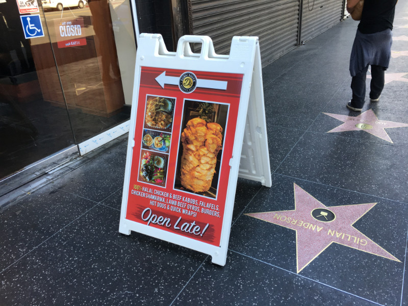 A-frame sidewalk signs for restaurants in Los Angeles