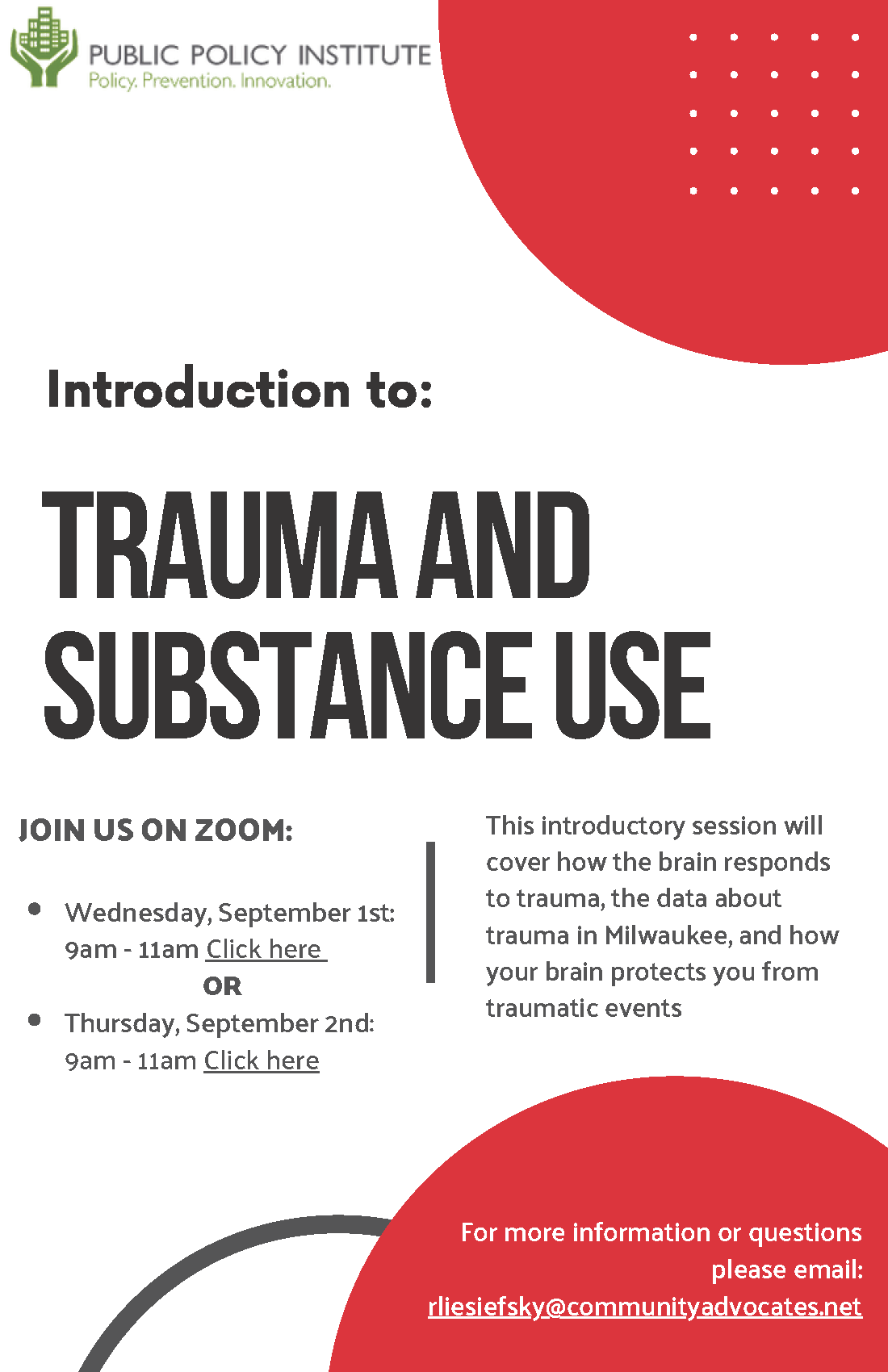 trauma and substance use training flyer