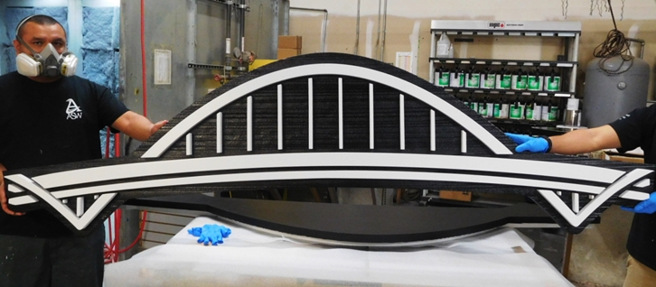Q25049 - Multi-level Carved Bridge as Artwork for a Large Sign