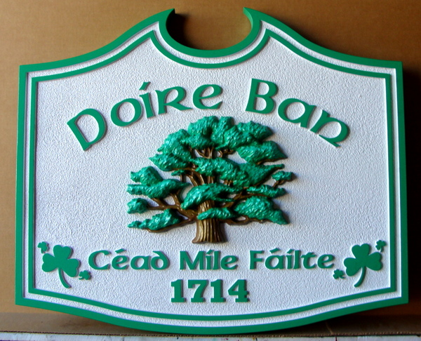 "I18306 - Carved HDU Property Address Sign for  ""Doire Ban (Irish) "", with 3-D Oak Tree"