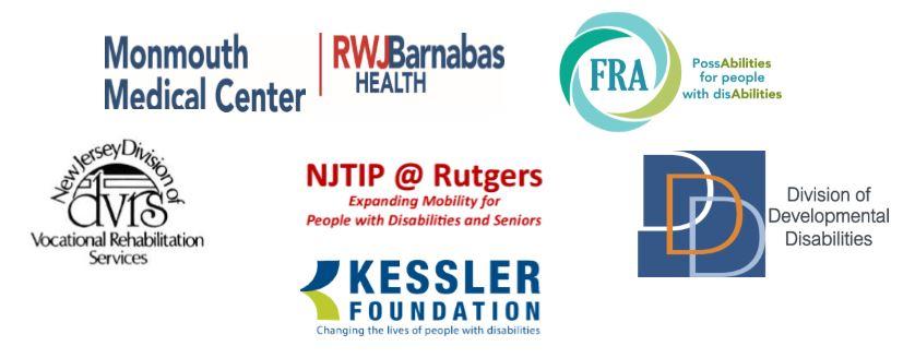 Logos of FRA, MMC RWJ Barnabas Health, DVRS, NJ Tip@Rutgers, DDD, Kessler Foundation