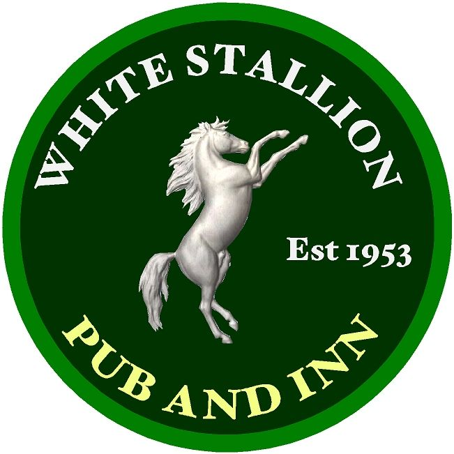 "T29122- Carved 3-D  HDU Sign for the ""White Stallion "", Pub and Inn, a Rearing White Stallion as  Artwork"