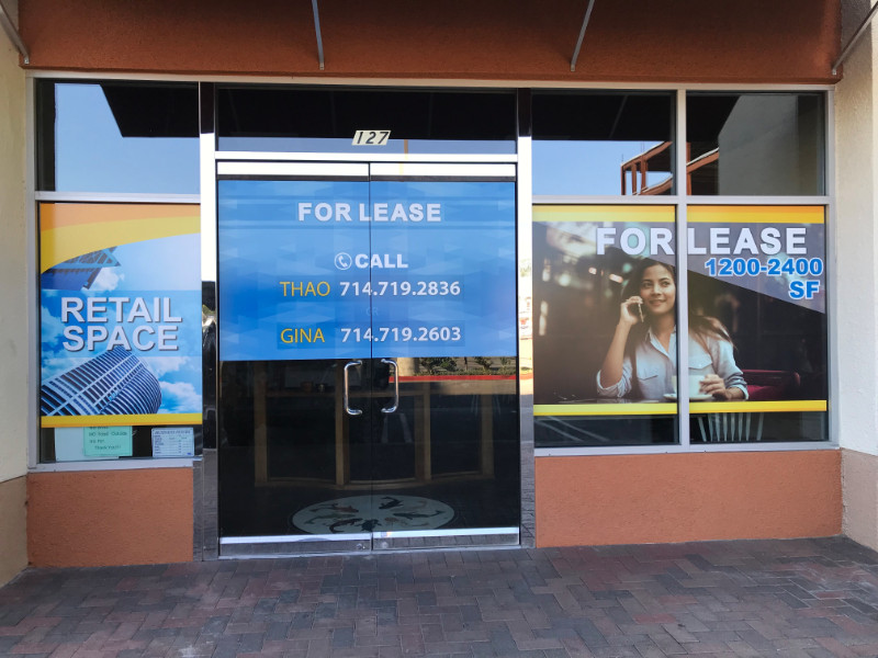 For Lease Window Graphics | Garden Grove CA