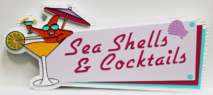 "Q25184 - Carved 2.5D Sign for ""Sea Shells and Cocktails"" , with  Cartoon Character in a Drink as Artwork"