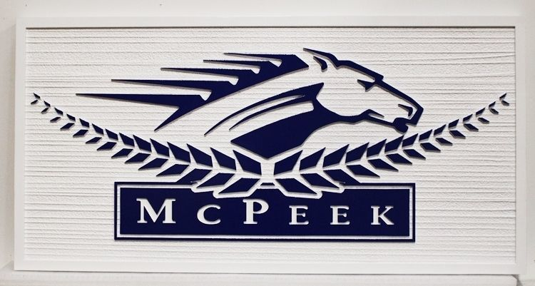 """P25105 - Carved Sign for """"McPeek"""", with a Stylized Racing Horse's Head in Profile as Artwork"""
