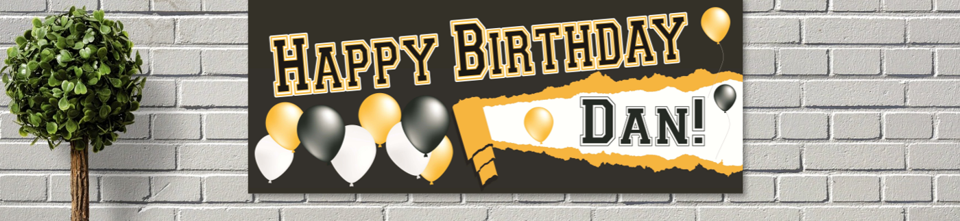 Birthday Banner on Brick Wall