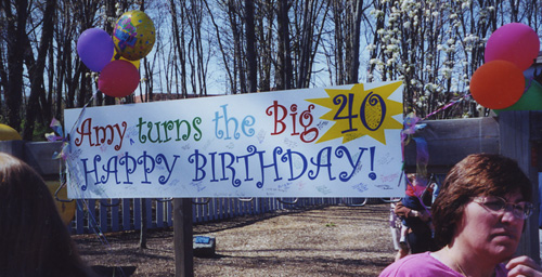 Outdoor Custom Designed Banner, 3 ft. x 10 ft., for Birthday Celebration.
