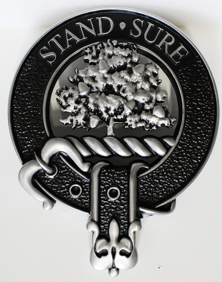 XP-1280- Carved Plaque of a Crest with an Oak Tree, 3-D Aluminum-plated