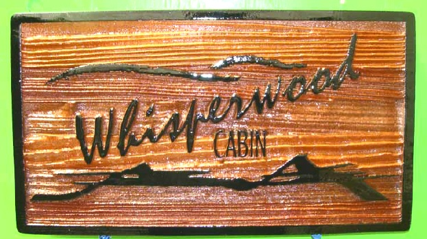 "M22220 - Carved Wood Sign for ""Whisperwood Cabin"" with Mountains"