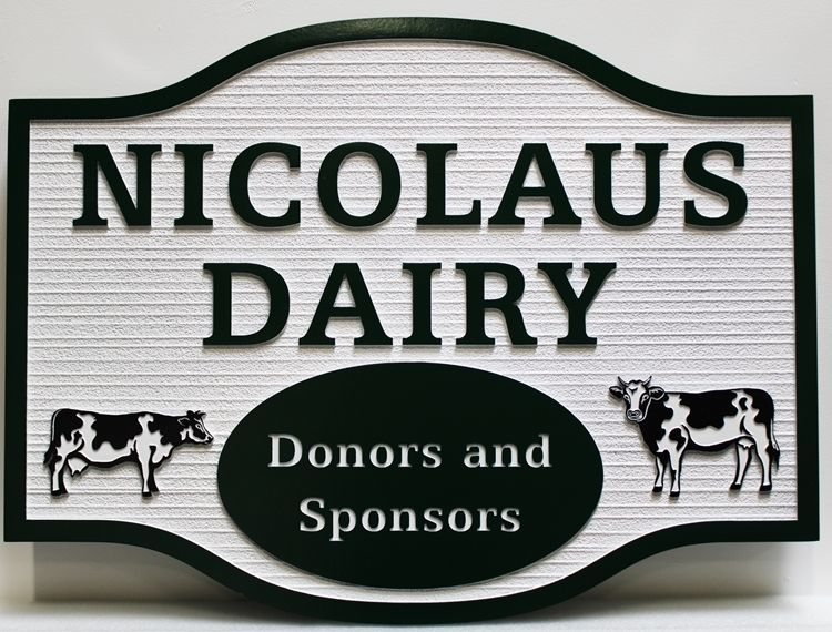 """O24162 - Carved and Sandblast, with Two Dairy Cattle as Artworked wood grain texture HDU Sign for """"Nicolaus Dairy"""", with Two Dairy Cattle as Artwork"""
