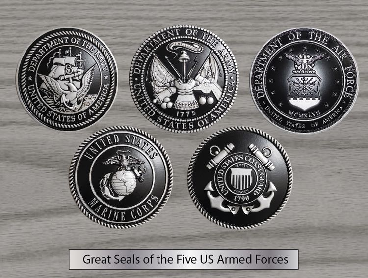 EA-1030 - Five Armed Forces Seals with Printed  Giglee Vinyl Seals Mounted on Mahogany Veneer Plaque
