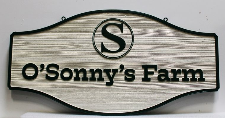 "O24097 - Carved and Sandblasted Cedar wood  sign for  ""O'Sonny's Farm"""