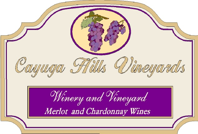 R27075 - Large Elegant Vineyard Carved Wood Entrance Sign, wit 3D Grape Clusters