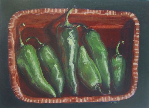 "Chilies,acrylic, 13 x 9"""