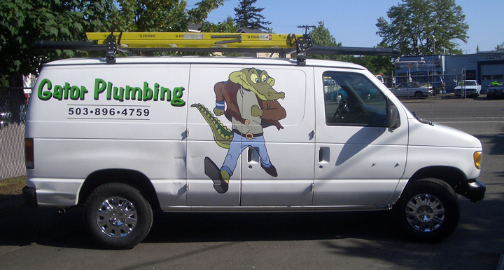 Gator Plumbing Van full color digital Print vehicle graphics