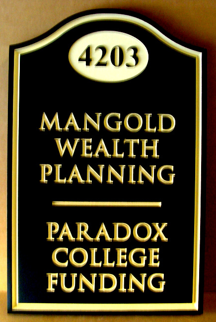 C12014 -   Wealth Planning Form Address and Directory Sign, 24K Gold-Leaf Golded Text and Border