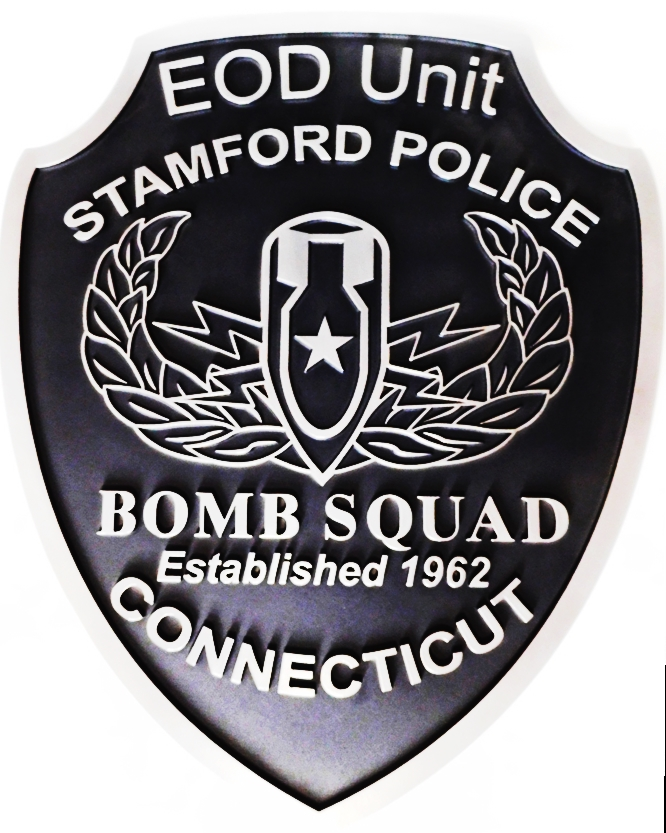 PP-2190 - Carved Plaque of the Shoulder Patch of the Bomb Squad, Stamford Police, Connecticut, 2.5-D outlinre Relief, Aluminum-plated