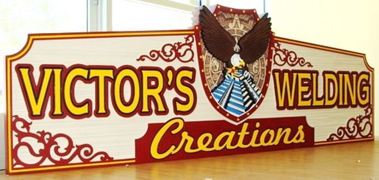 """S27996 - Carved HDU Sign for """"Victor's Welding""""  with Raised, Carved Aztec Eagle, Temple and Shield"""