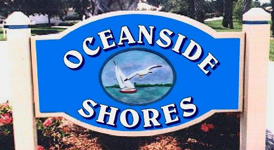 "L21321- Post-Mounted Sign for ""Oceanside Shores"" with Sailboat and Ocean"