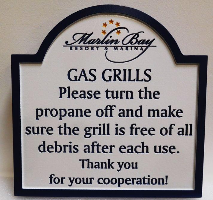 "KA20262 - Engraved High-Density-Urethane (HDU)  ""Gas Grills"" Rules Sign for the Marlin Bay Resort & Marina, 2.5-D Engraved"