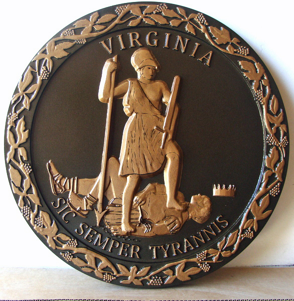 M7475 - 3D Bas-Relief Carved HDU Wall Plaque of the Great Seal of the State of Virginia, with Bronze  Metallic Paint