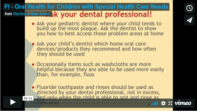 Oral Health for Children with Special Health Care Needs (English)