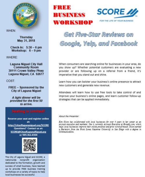 Free SCORE Workshop