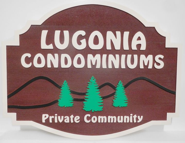 K20372 - Carved Redwood  Entrance Sign for the Lugonia Condominiums, with Stylized  Fir Trees and Mountains as Artwork