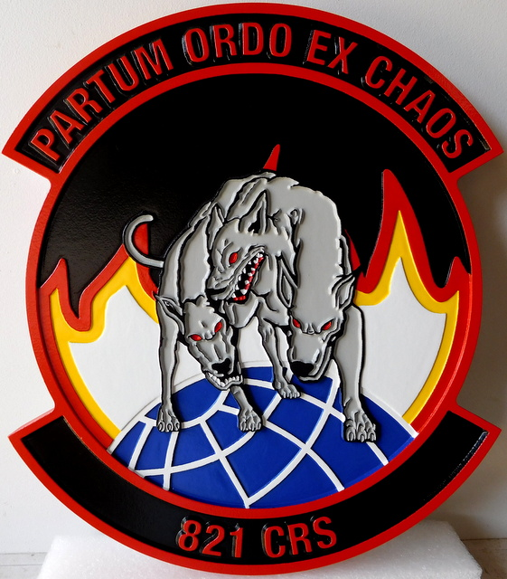 "LP-3040 - Carved Round Plaque of the Crest of the 821st Contingency Response Squadron ""Partum Ordo Ex Chaos"", Artist Painted"