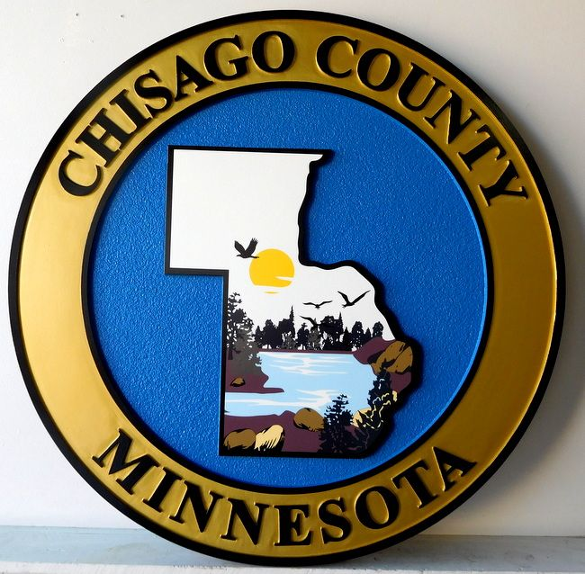 CP-1120 -  Carved Plaque of the Seal of Chisago  County, Minnesota,  Artist Painted